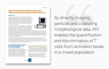 Learn about Determining Residual Bead Count: Application of Micro-Flow Imaging to CAR T-Cell Manufacturing in the application note